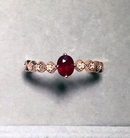 Natural ruby silver free size ring - MOWTE
