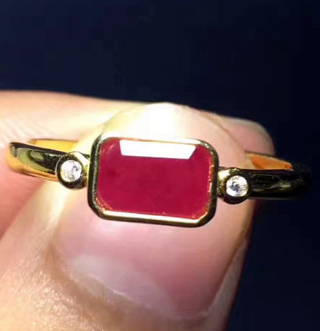 Natural ruby silver free size ring