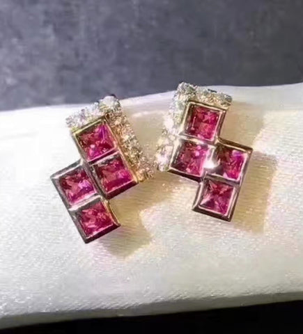 Natural ruby sterling silver studs
