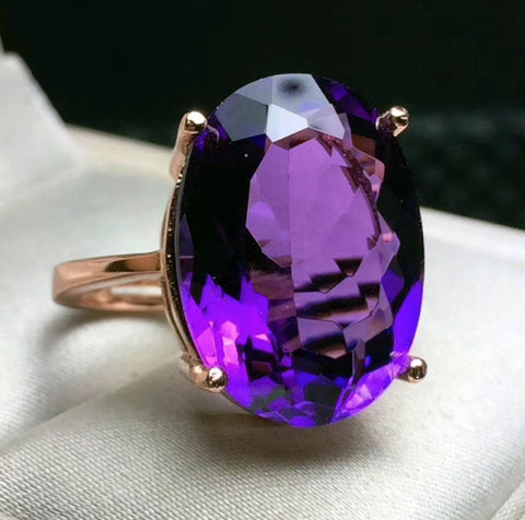 Amethyst sterling silver free size ring - MOWTE