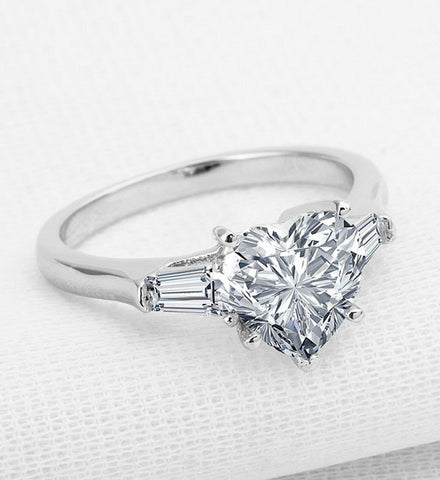 3CT heart cut luxury diamond wedding ring - MOWTE