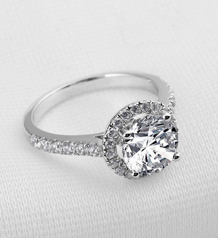 2CT round cut diamond silver ring - MOWTE
