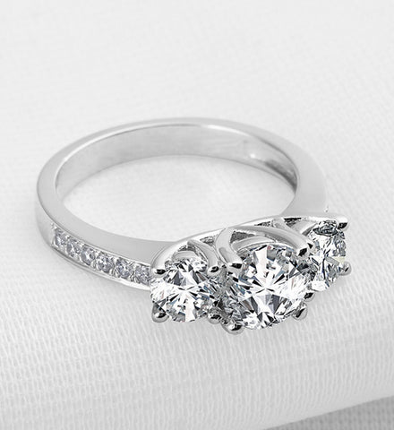 2CT fashion three stone round cut diamond silver ring - MOWTE
