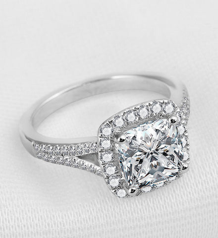 2ct princess cut diamond engagement ring - MOWTE