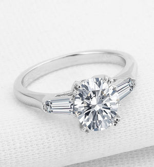 2CT oval cut diamond engagement ring - MOWTE