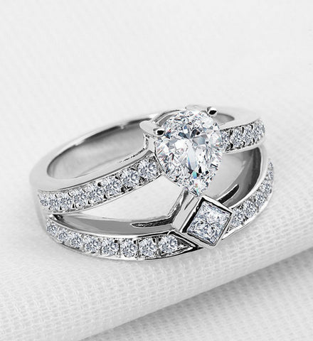 2CT my diamond pear cut wedding ring - MOWTE