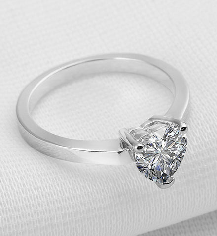 1ct heart cut diamond engagement ring - MOWTE