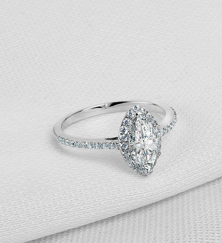 Marquise cut 2ct diamond engagement ring - MOWTE