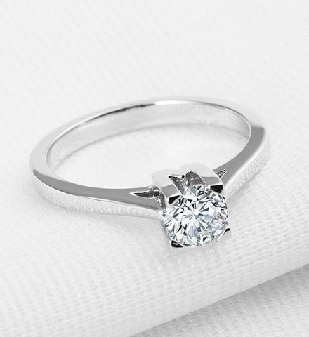 1CT round cut diamond silver ring - MOWTE