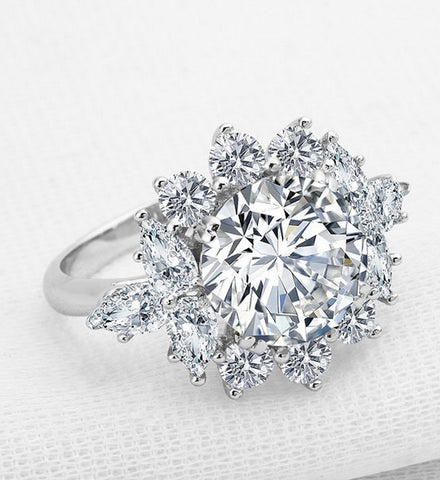 3CT round cut diamond silver ring - MOWTE