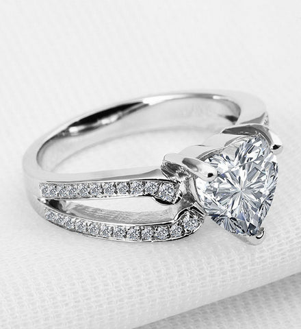 3ct heart cut diamond engagement ring - MOWTE