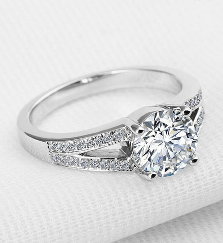 2.5CT round cut diamond silver ring - MOWTE