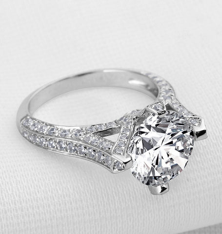 Luxury 3.5CT round cut diamond silver ring - MOWTE