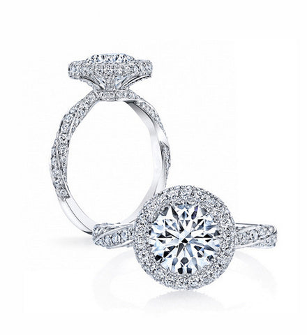 Luxury 3CT round cut diamond silver ring - MOWTE
