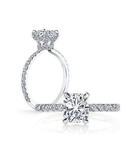 3CT cushion cut diamond engagement ring