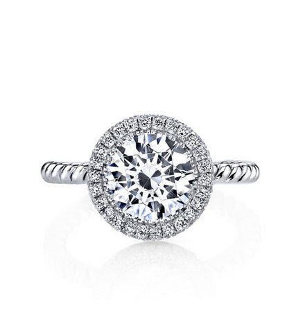 4CT round cut diamond silver ring - MOWTE