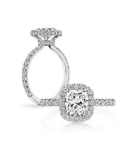 2.5CT cushion cut diamond engagement ring - MOWTE