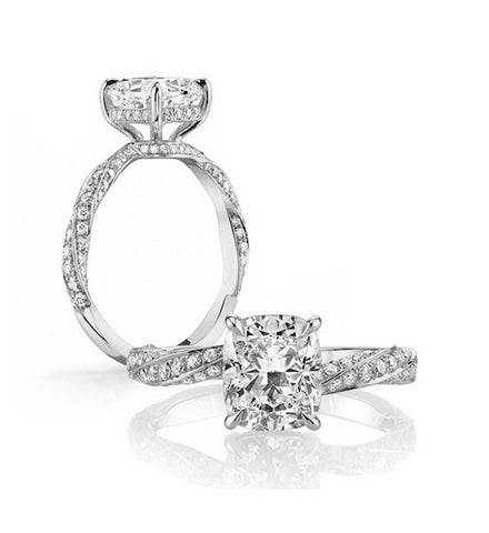 2.5CT cushion cut diamond twisted band ring