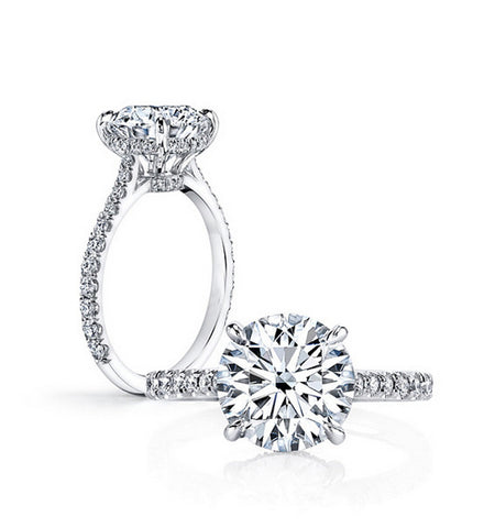 2CT round cut diamond silver ring