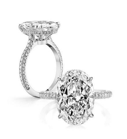 5CT oval cut diamond engagement ring - MOWTE