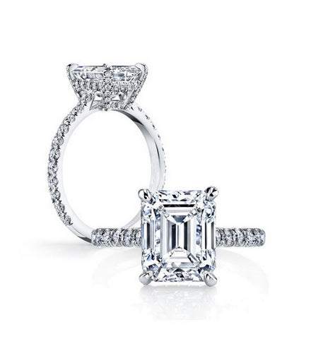 3ct emerald cut diamond engagement ring - MOWTE