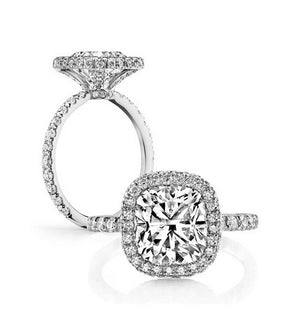 Luxury 3CT cushion cut diamond ring - MOWTE