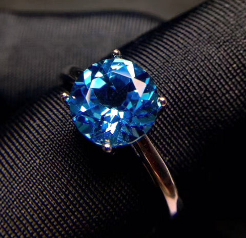 Swiss blue topaz sterling silver free size ring