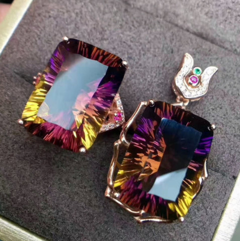 Natural ametrine silver vintage jewelry set