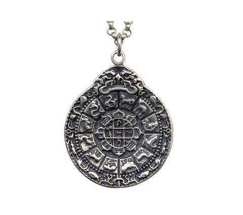 Men's sterling silver nine palaces pendant & necklace - MOWTE
