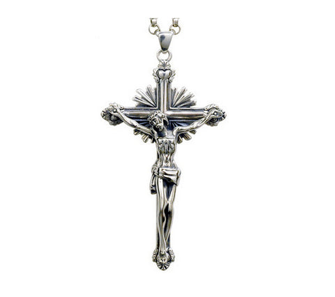 Men's fashion sterling silver Jesus cross pendant & necklace