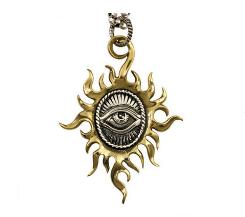 Men's fashion sterling silver sun gods eye pendant & necklace - MOWTE