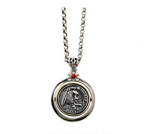 Men's fashion sterling silver pendant & necklace