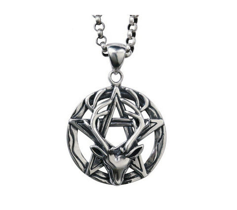 Men's fashion sterling silver pentagram deer king pendant & necklace - MOWTE