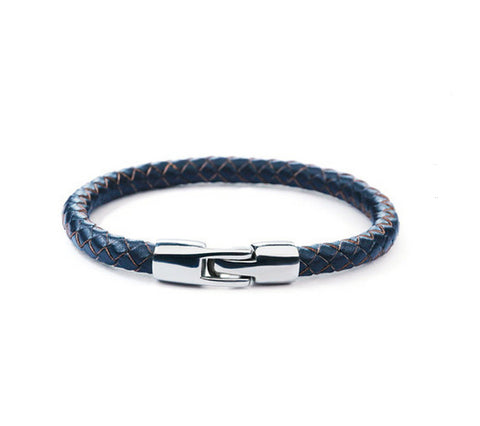 Men's fashion titanium steel leather bracelet - MOWTE
