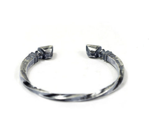 Men's fashion twist sterling silver bangle - MOWTE