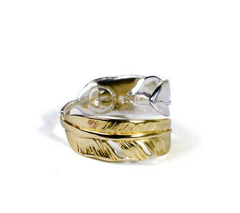 Men's fashion feather silver ring - MOWTE