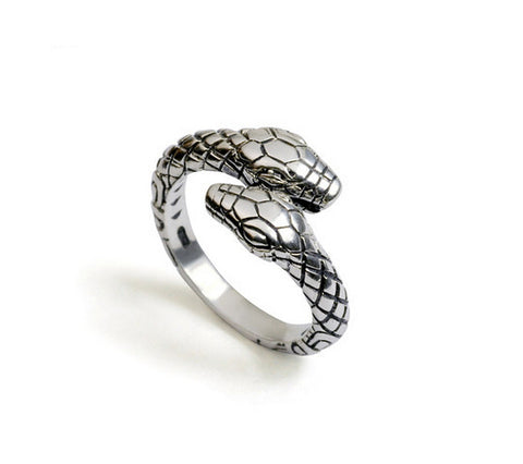 Men's fashion snake sterling silver ring