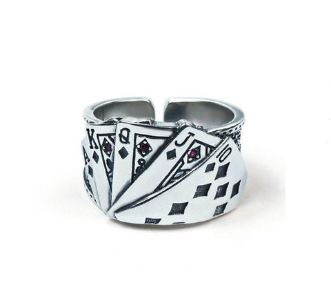 Men's fashion playing cards sterling silver ring