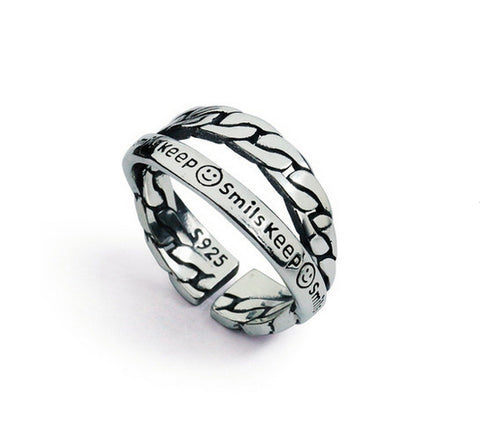 Men's fashion layers sterling silver ring