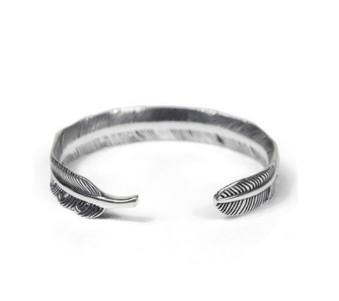 Men's fashion feather sterling silver bangle