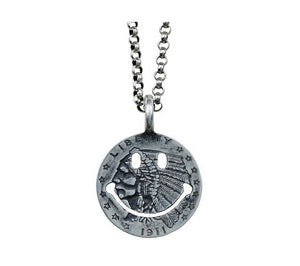 Men's fashion sterling silver smile face pendant & necklace