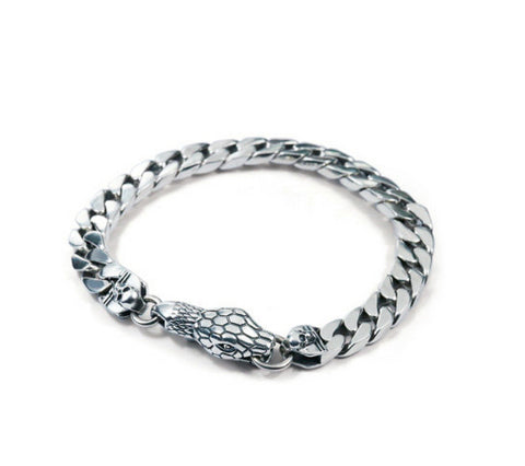 Men's fashion snake sterling silver bracelet