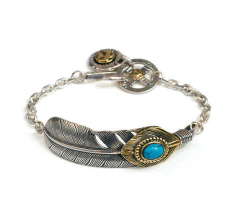 Men's fashion feather turquoise sterling silver bracelet