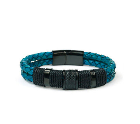 Men's fashion cowhide titanium steel bracelet