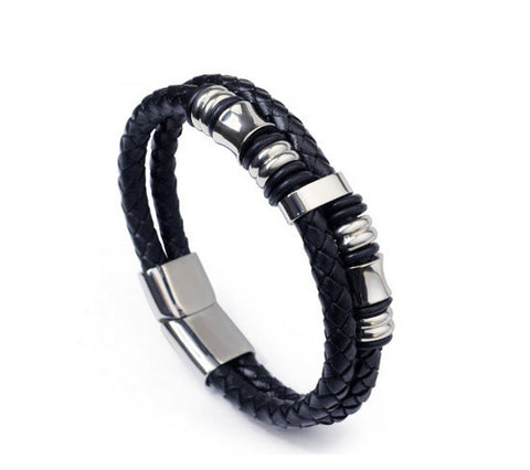 Men's fashion leather titanium steel bracelet