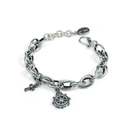 Men's fashion rudder cross sterling silver bracelet