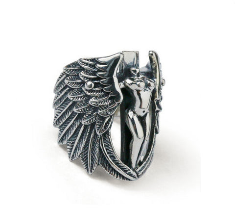 Men's fashion angel sterling silver ring