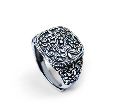 Men's fashion tang grass sterling silver ring