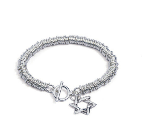 Men's fashion hexagram sterling silver bracelet