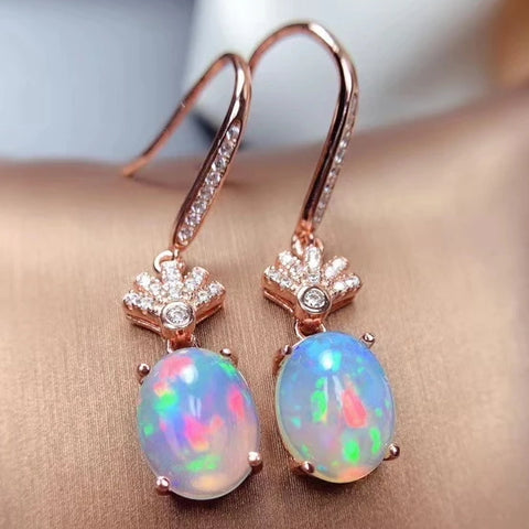 Natural opal drop dangle sterling silver earrings